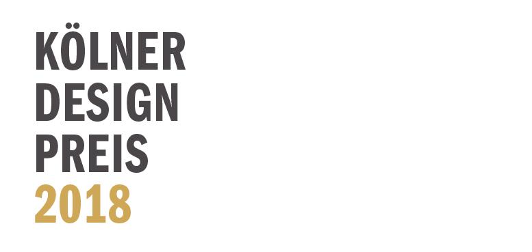 Schriftlogo des Kölner Design Preises 2018 auf weißem Hintergrund