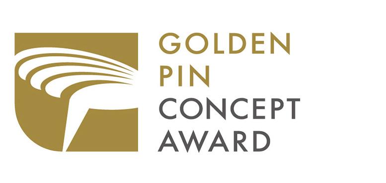 Schriftlogo des Golden Pin Concept Design Awards auf weißem Hintergrund